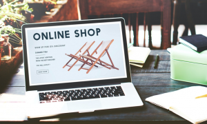 online shop on laptop screen