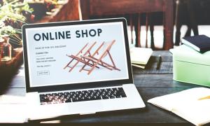 online shop on laptop screen
